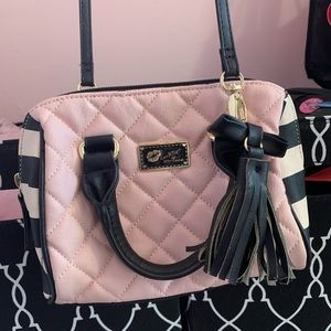 Betsey Johnson Pink, Black, & White Crossbody Bag
